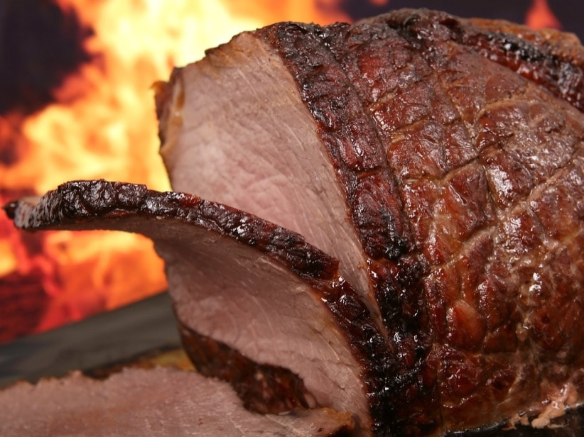 beef meat fireplace