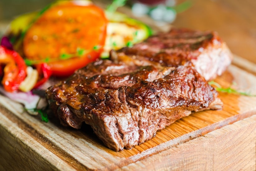 juicy steak with tomato